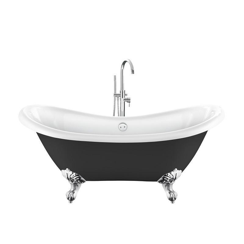 Baignoire lot r tro darlington 175 noire avec pattes d for Marque de baignoire