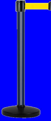 Poteau Alu Bleu laqué à sangle Jaune 4m x 50mm sur socle portable - 2052375