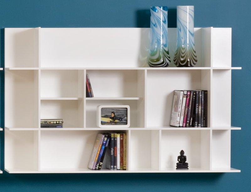 Temahome etagere design murale panorama blanche - Decoration bibliotheque murale salon ...