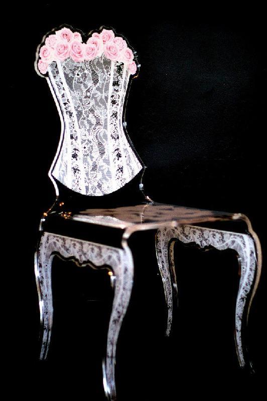 eman chaise design en plexi rose par acrila. Black Bedroom Furniture Sets. Home Design Ideas