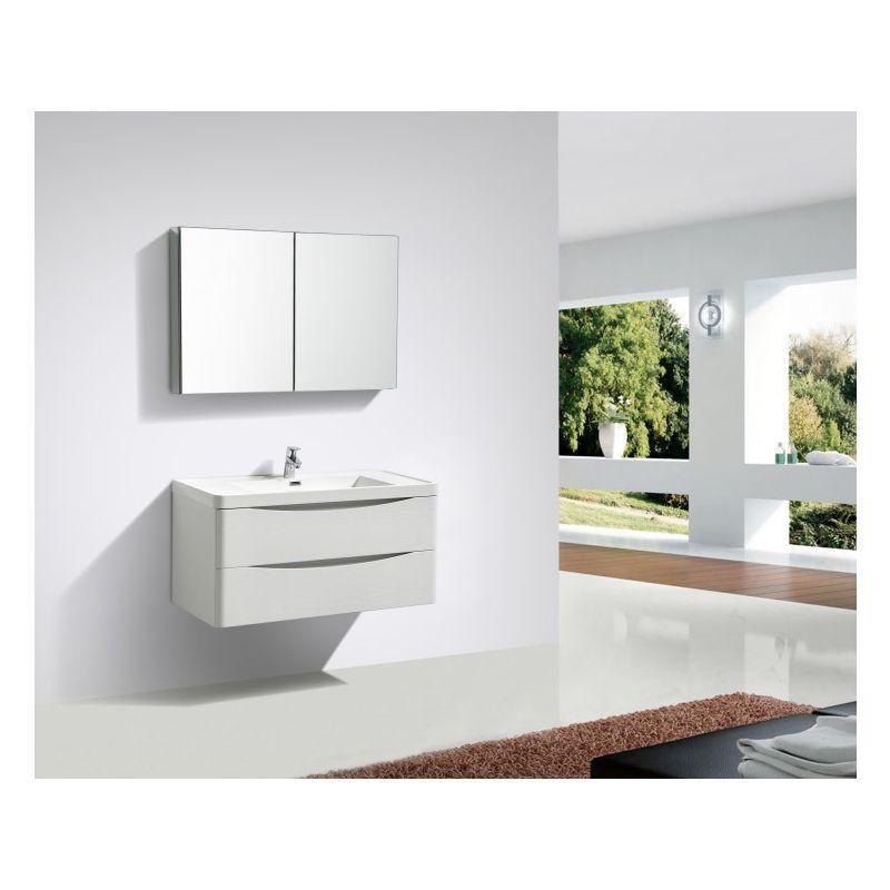 Meuble De Salle De Bain Luna 1200 Blanc Mat Miroir En Option Mat
