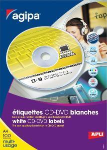 AGIPA 119883 ÉTIQUETTES CD/DVD MULTIUSAGE DIAM 114 MM - BOÎTE DE 100 FEUILLES