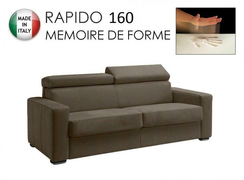canape rapido sidney deluxe memory matelas 160 14 190 cm memoire de forme cuir vachette taupe. Black Bedroom Furniture Sets. Home Design Ideas