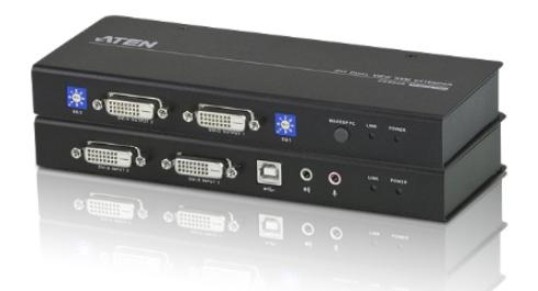 CE604 - DÉPORT KVM DVI CÂBLES CAT.5E USB / MINI-JACK / RS-232
