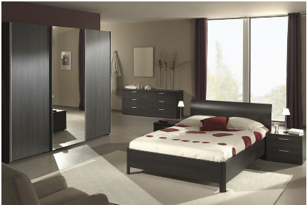 chambre design complete pour adulte coloris chene. Black Bedroom Furniture Sets. Home Design Ideas