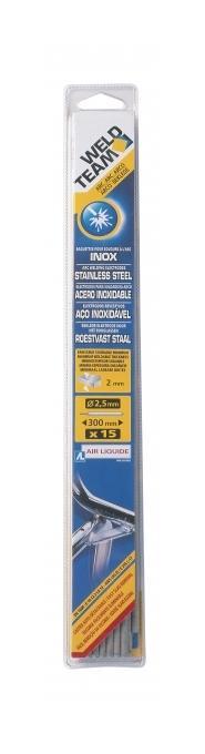 15 ELECTRODE INOX ° 2.5 MM WELD TEAM soudure  épaisseur 3 mm