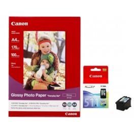 CANON - CL-511 / GP-501 - PACK D' UNE CARTOUCHE COULEUR ET 100 FEUILLES DE PAPIER PHOTO 10X15 CM - 2972B008