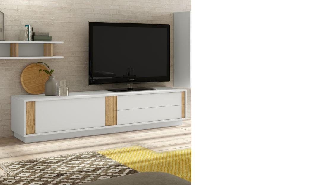 Meuble télé design blanc laqué mat et couleur bois clair alden