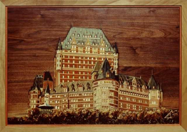 tableau marqueterie construction chateau frontenac 80cm x 55cm. Black Bedroom Furniture Sets. Home Design Ideas