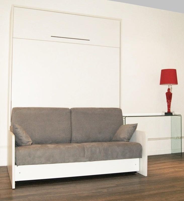 Space sofa armoire lit escamotable 160cm canape integre - Canape avec pouf integre ...