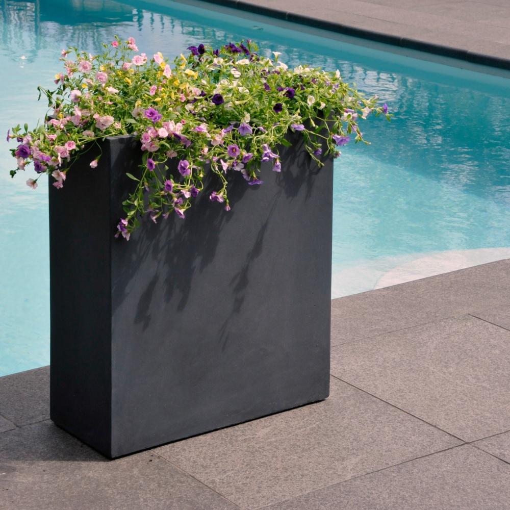 bac a fleurs fibre de terre clayfibre l60 h72 cm anthracite ref 32691. Black Bedroom Furniture Sets. Home Design Ideas