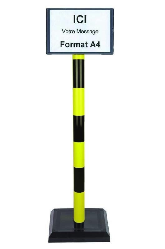 Poteau PVC Jaune/Noir sur socle lester 3kg avec support d'information A4 - 2000550