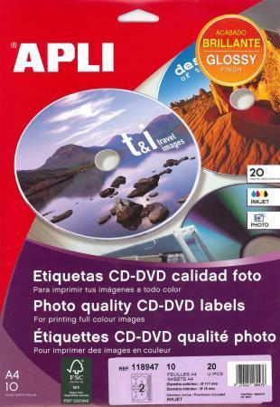 118947 - 20 ÉTIQUETTES CD/DVD MAXI BLANCHES, DIAM. 117 MM (10 FEUILLES / CDT)