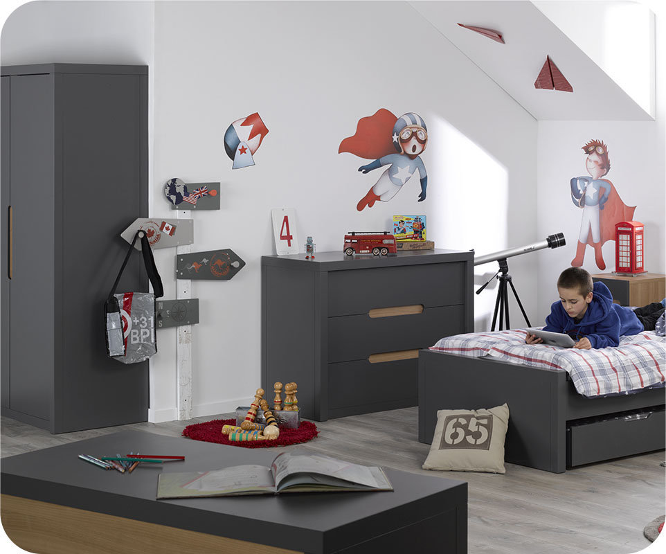 chambre enfant bow gris anthracite. Black Bedroom Furniture Sets. Home Design Ideas