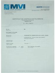 Certificat d'etalonnage 4 pts   -18°c +2°c +10°c+140°c