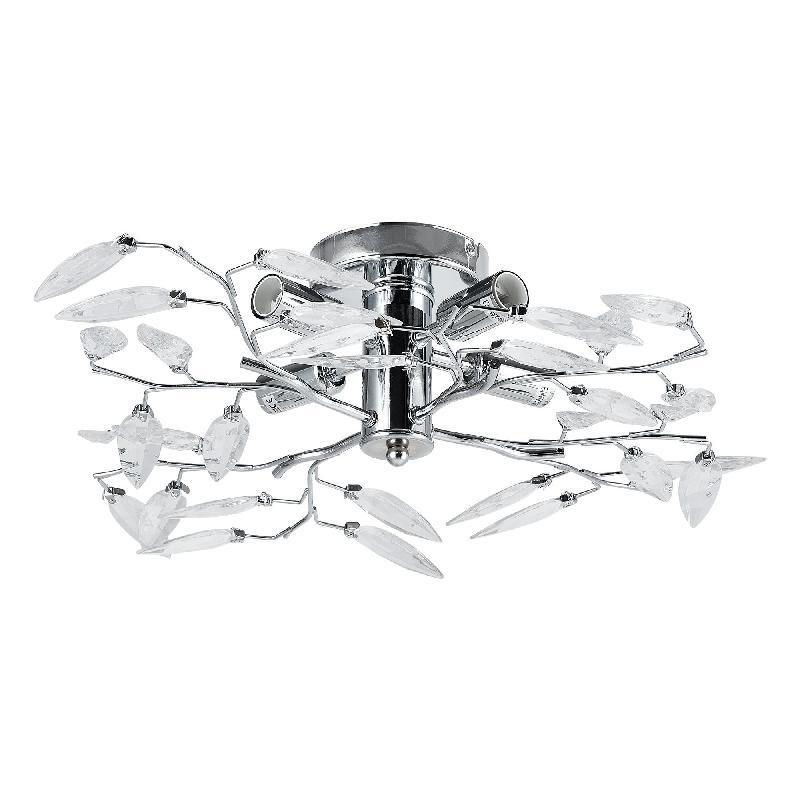 Plafonnier cristal suspension luminaire design led diamètre 47,5 cm métal chrome argent 03_0005930