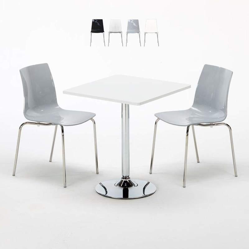 TABLE CARRÉE BLANCHE 70X70CM AVEC 2 CHAISES COLORÉES ET TRANSPARENTES SET INTÉRIEUR BAR CAFÉ LOLLIPOP TITANIUM   GRIS - GRAND SOLEIL