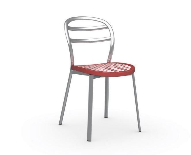 CALLIGARIS CHAISE BISTROT GIGA  STRUCTURE ACIER SATINÉ ASSISE ROUGE