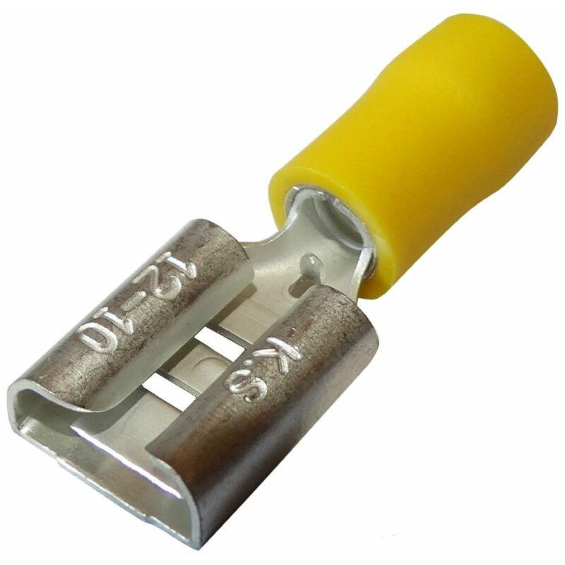Aerzetix 100x Cosses /électriques /à oeil oeillet isol/ées M6 /Ø6,4mm 4-6mm2 jaunes