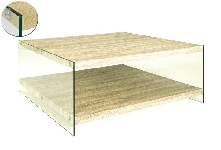 Table basse nina en verre et chene clair for Table basse en chene clair
