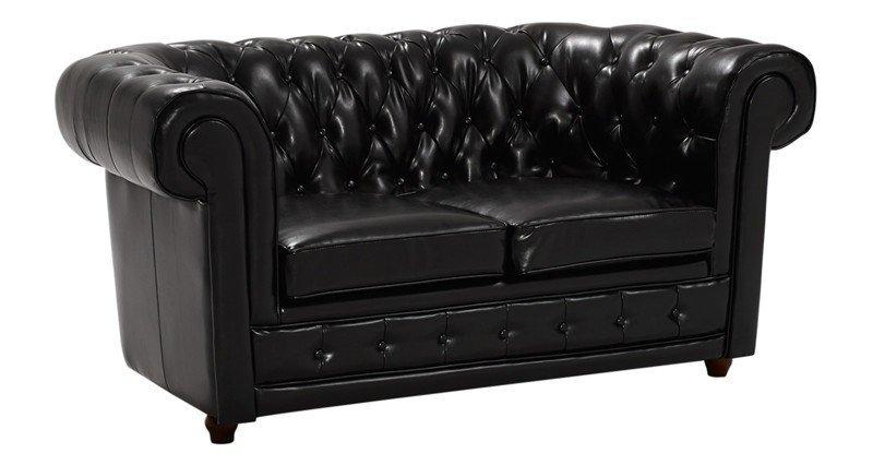 Canape chesterfield deluxe 2 places cuir noir capitonne - Canape chesterfield cuir 2 places ...