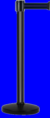 Poteau Alu Noir laqué à sangle Noir/Bleu 3m x 50mm sur socle portable - 2010658