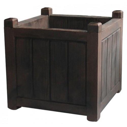 bac fleurs carr charme bois fonc 67 l eda plastiques. Black Bedroom Furniture Sets. Home Design Ideas