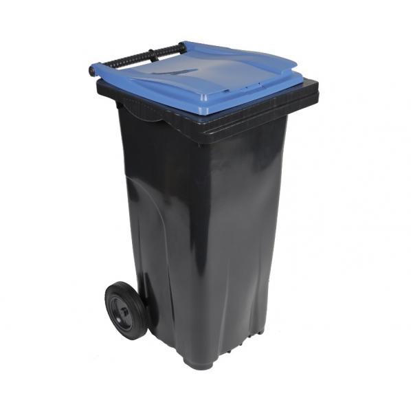 Conteneur poubelle bicolore - 120 litres gris / bleu