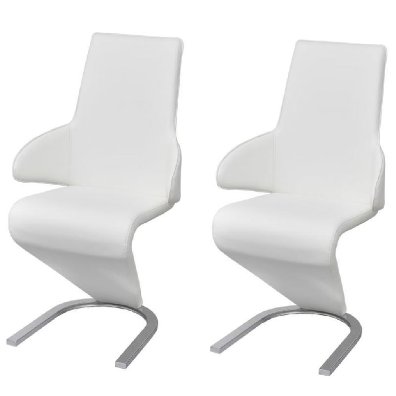 Lot de deux chaises cantilever 2 pcs en cuir artificiel blanc 1902093