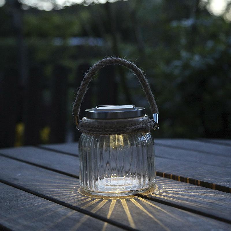 Glass jar lanterne solaire d 39 ext rieur transparent led for Luminaire lanterne exterieur