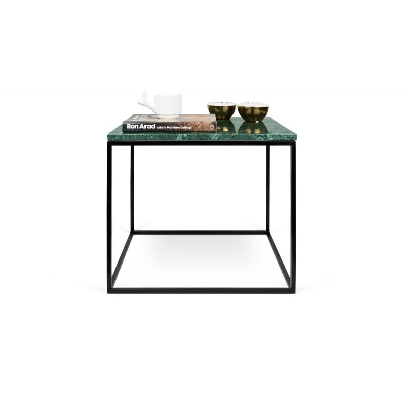 Temahome Table Basse Gleam 50cm Marbre Vert Metal Noir