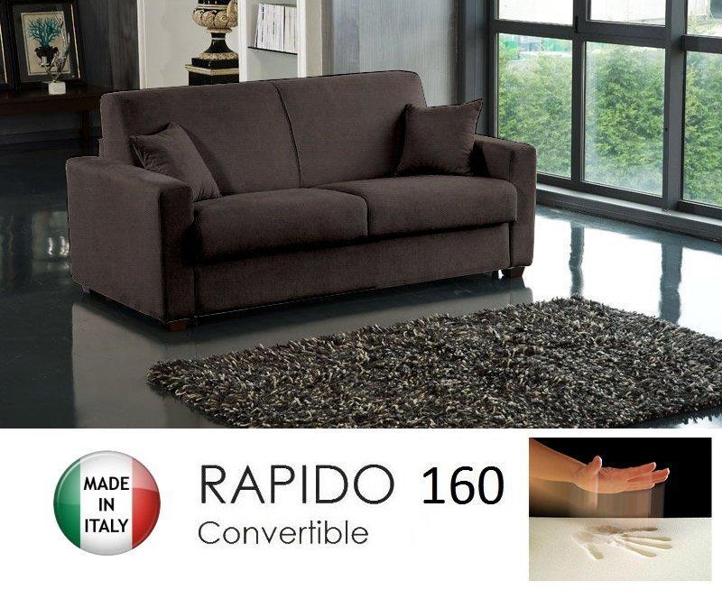 Canape convertible rapido 160cm dreamer tissu tweed cross marron matelas 160 - Canape convertible rapido ...