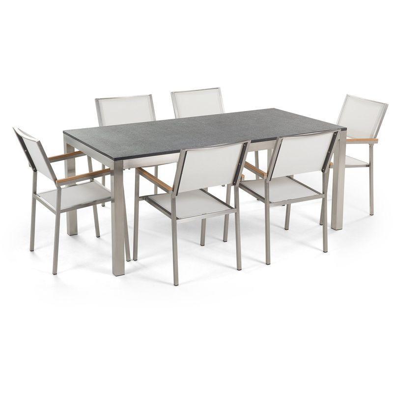 TABLE DE JARDIN EN ACIER INOX ET 6 CHAISES EN TEXTILE - BELIANI