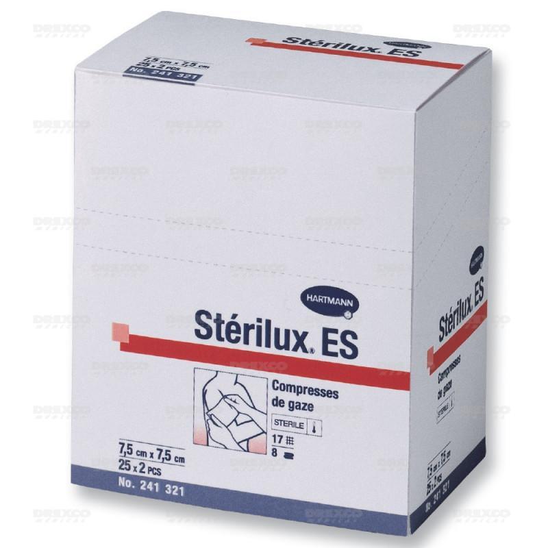 Compresses de gaze stérile stérilux hartmann - lot de 6 -      plié 10 x 10 - 18 x 30 cm, la boite de 25 sachets (150 compresses)