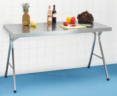 table pliante en inox hauteur de travail 850 mm l x p 1200 x 700 mm comparer les prix de. Black Bedroom Furniture Sets. Home Design Ideas