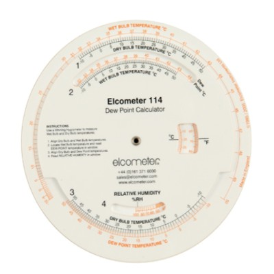 Calculateur de point de rosee elcometer 114 for Point de rosee chaudiere bois