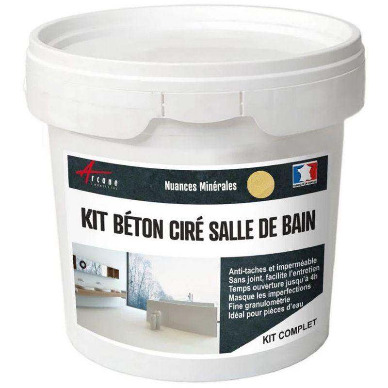 KIT BÉTON CIRÉ - MURS SALLE DE BAINS DOUCHE ITALIENNE NANKIN - JAUNE - KIT 5 M2 (2 COUCHES) - ARCANE INDUSTRIES