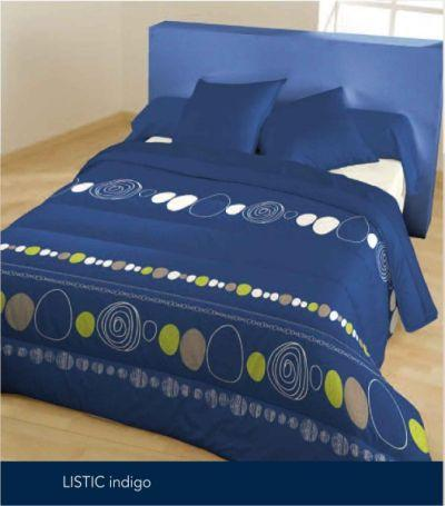 couette imprimee listic indigo 140 x 200 bleu calin. Black Bedroom Furniture Sets. Home Design Ideas