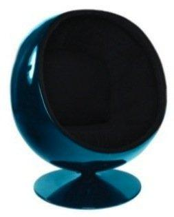 fauteuil boule ball chair coque bleue interieur velours noir design 70 39 s. Black Bedroom Furniture Sets. Home Design Ideas