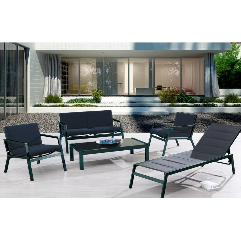 salon de jardin bas en aluminium et textil ne noir comparer les prix de salon de jardin bas en. Black Bedroom Furniture Sets. Home Design Ideas