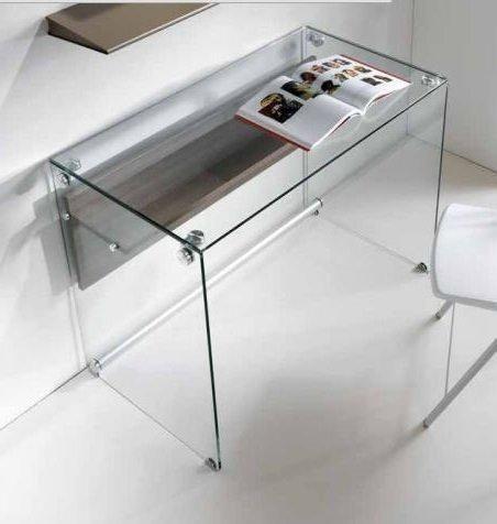 bureau charli design en verre avec une tag re en bois stratifi orme comparer les prix de. Black Bedroom Furniture Sets. Home Design Ideas