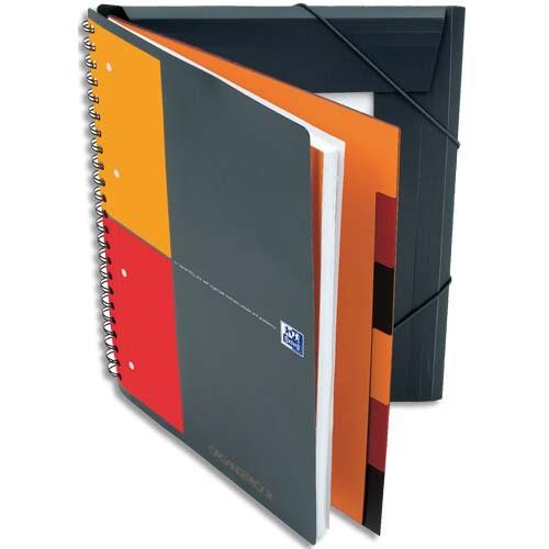 OXFORD CAHIER ORGANISERBOOK SPIRALES 160 PAGES PERFORÉES 80 GRAMMES 21X31,8CM COUVERTURE POLYPRO ORANG