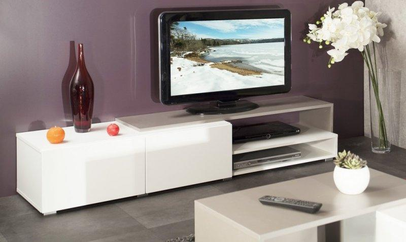 Pacific meuble tv couleur blanc et taupe laque brillant for Grand meuble tv blanc laque