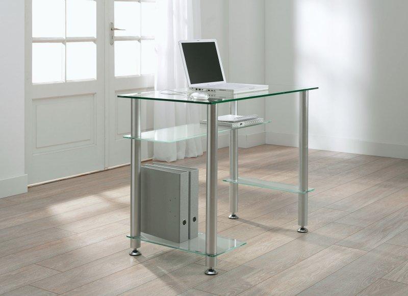 little desk bureau 4 plateaux verre transparent comparer les prix de little desk bureau 4. Black Bedroom Furniture Sets. Home Design Ideas
