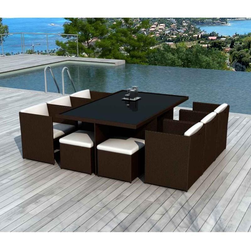 115cm 8 beach de Ensemble palm jardin places chocolat table Fc1J3TlK