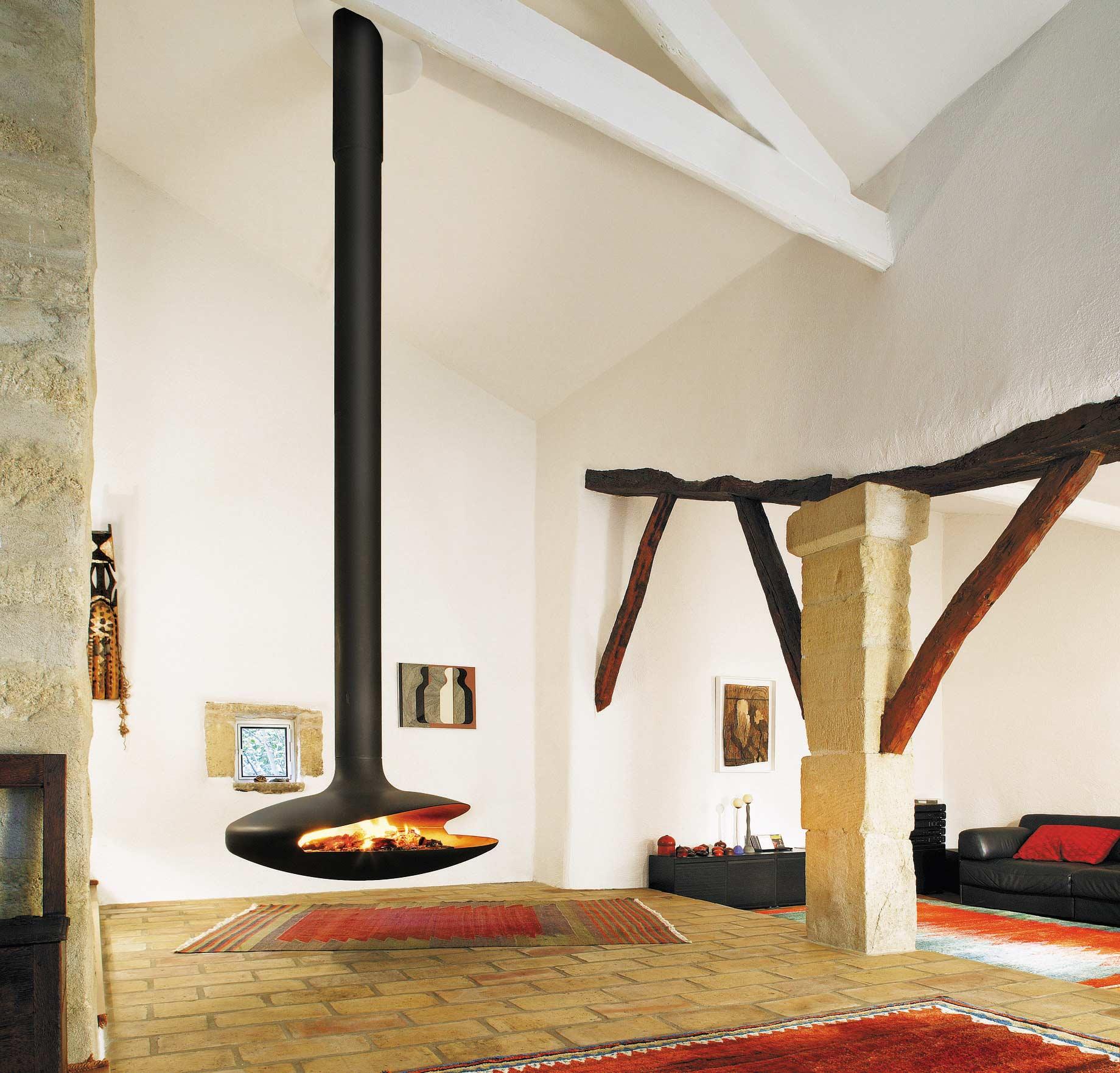 cheminee suspendue foyer ouvert
