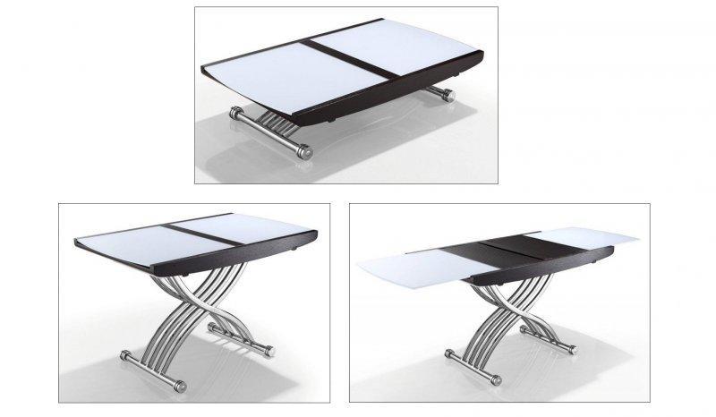 Table relevable lift chrome glass blanc extensible en - Systeme table relevable ...