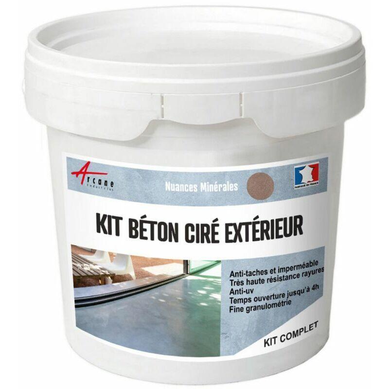 KIT BETON CIRE EXTERIEUR : POUR SOL, MUR, TERRASSE, BALCON, ESCALIER - ARCANE INDUSTRIES - VISON - GRIS BEIGE - KIT 5 M2 (2 COUCHES)