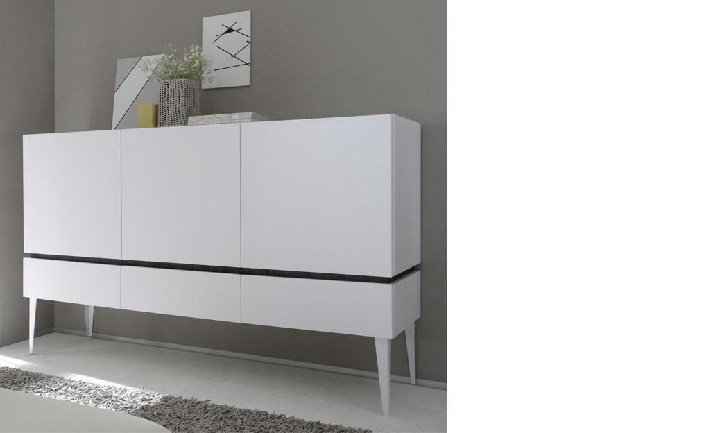 buffet haut blanc laque mat et couleur wenge moderne brick. Black Bedroom Furniture Sets. Home Design Ideas