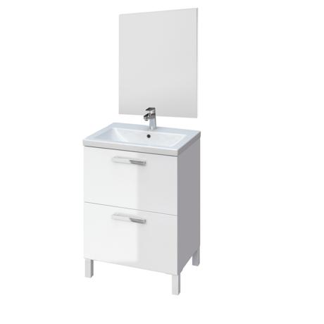 Meuble de salle de bain sur pieds 60cm blanc brillant - Meuble de salle de bain sur pied ...